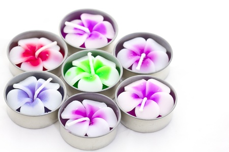 plumeria flowers of candle spa on white background Stock Photo