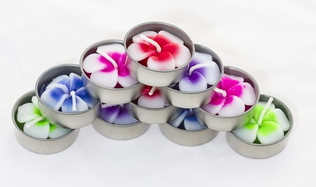 frangipani flowers of candle isolated on background white photo