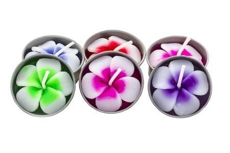 plumeria flowers of candle isolated on background white photo