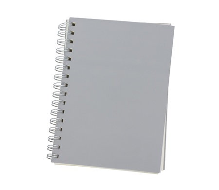 grey notebook isolated on white background photo