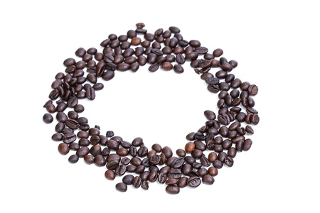 circle of coffee beans isolated on white background photo