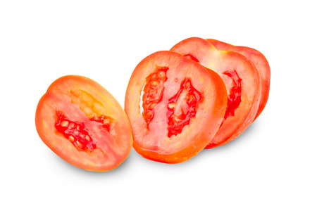 four tomato slices isolated on white background