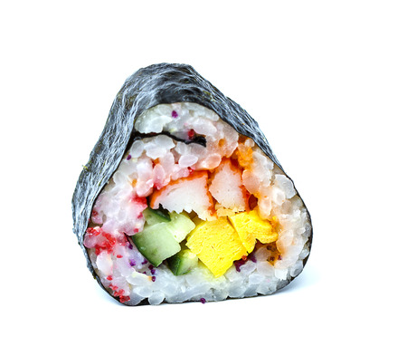 Japanese Cuisine Sushi Roll with Shrimps, Avocado, Tobiko and Cream Cheese