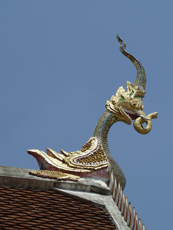 decorate: thai temple roof decorate Stock Photo