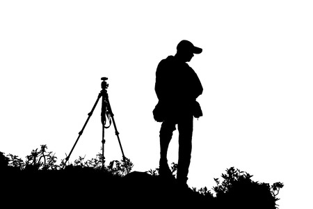 Trekking man take a sight seeing on the mountain at Doi Luang Chiang Dao, Chiang Mai Thailand on isolated background Stock Photo