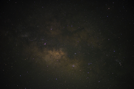 The starry night with the galaxy at Chiang Mai Thailand, Closed up milky way in the dark night
