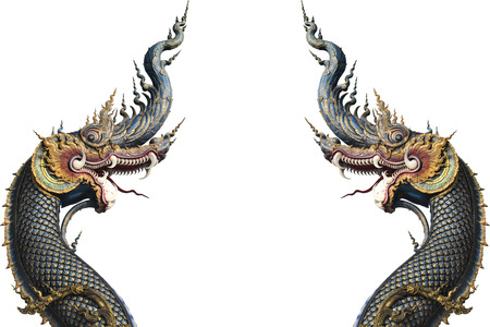Nagas on isolate background at at Rong Sua Ten temple Chiang Rai, Thailand