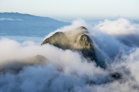 Mountains of Doi Sam Phi Nong above the clouds with sea of the mist at Doi Luang Chiang Dao in Chiang Mai, Thailand