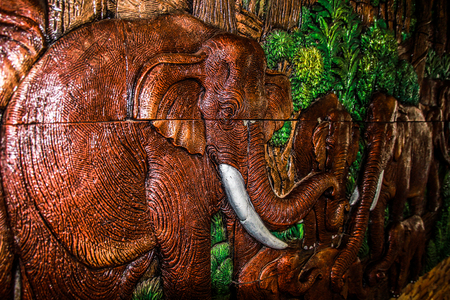 Elephant sculpture wall.