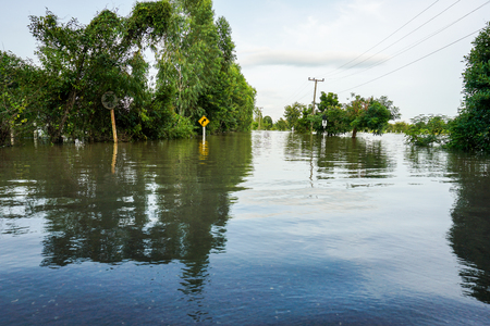 Floods of storms cause floods in rural and urban areas. 写真素材