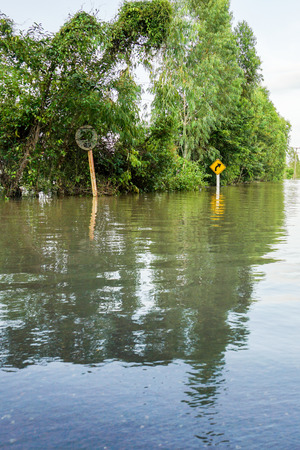 Floods of storms cause floods in rural and urban areas. Stock Photo