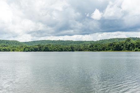 Sky, water and mountains are in Phu Phan Nong, Sakon Nakhon, Thailand.