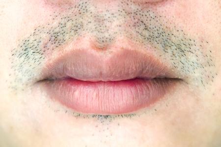 男性の口のクローズ アップ