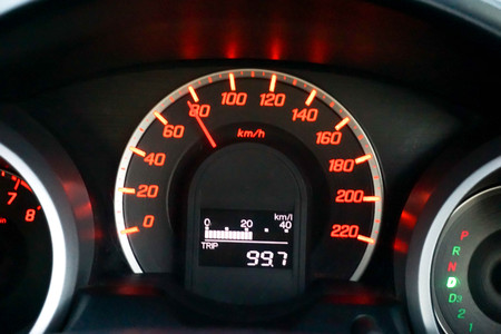 A kilometer car dials the speed of the car.