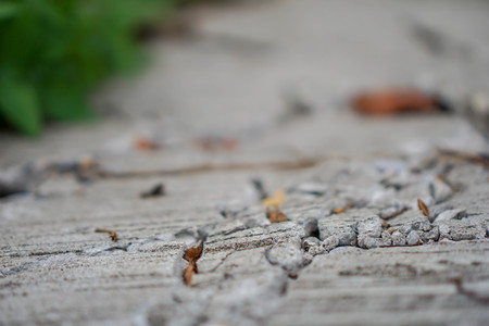 Cracked concrete road