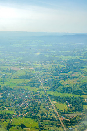Aerial view of rural streets winding through rural villages Stock Photo