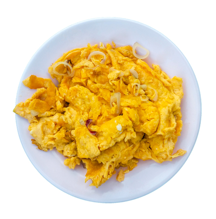 Omelette in a dish on a separate white background clipping paths.