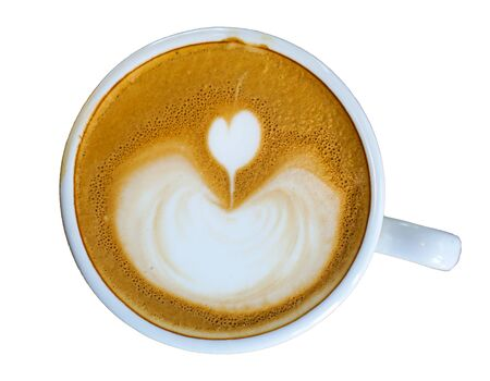 Heart-shaped coffee on a white background. Banco de Imagens