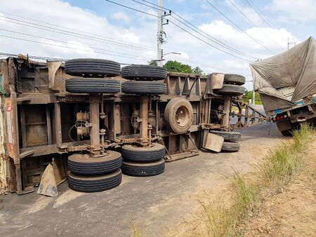 Truck accident and road traffic blocking