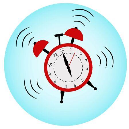 A loud red alarm clock. Alarm at 6.00 a.m.