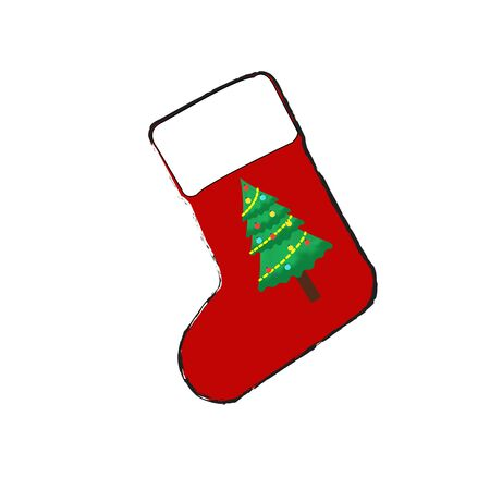 A red Christmas sock with a Christmas tree pattern on a sock on a white background Stock Illustratie
