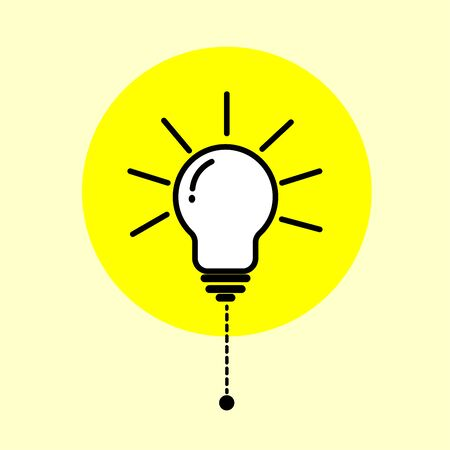 The light bulb is an illustration on a yellow background showing that the light is on.
