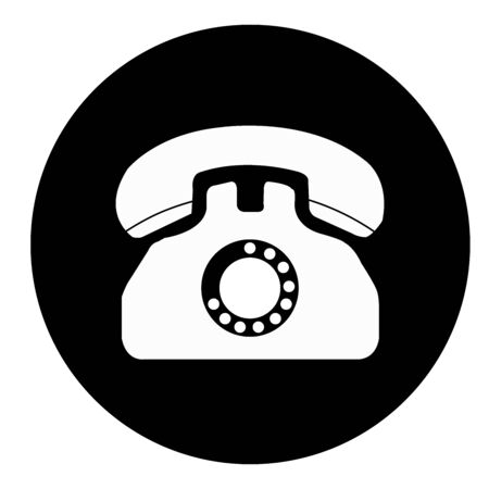 Phone icon in a black circle on a white background.