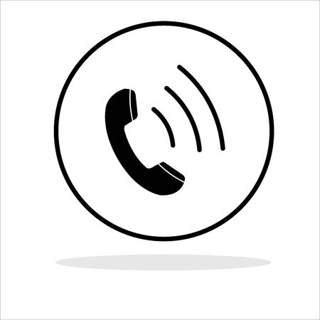 Phone icon in a circle on a white background Ilustracja