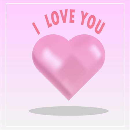 The pink heart is on a light pink background, with the letters saying I love you.