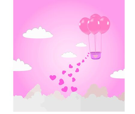 Illustration of love and valentines day Make a balloon flying in the sky with hearts floating in the sky.