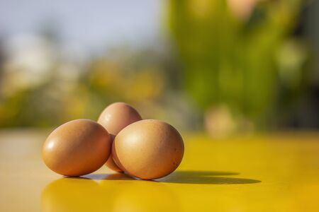 The eggs on the yellow wooden table