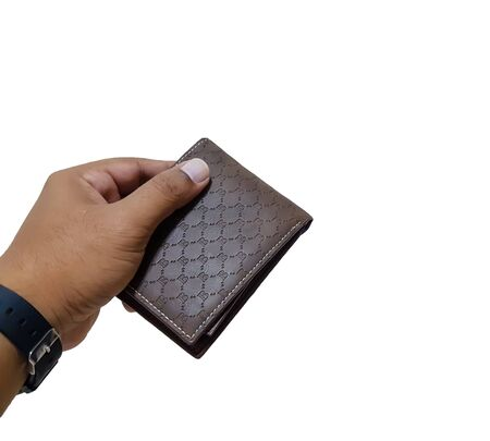 The hand of a man with a purse on a white background
