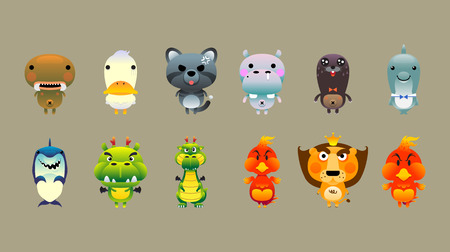 character design: Animals cartoon character design Illustration