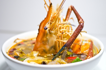 Spicy soup with shrimps which is known in thailand as tom yum goong Stock Photo