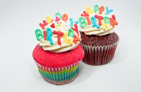 Cupcake decorated with birthday candles photo