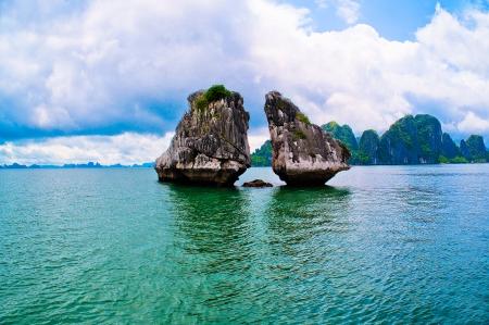 ha: Picturesque sea landscape  Ha Long Bay Vietnam Stock Photo
