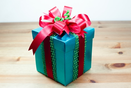 wrapped present: Gift wrapped present with red bow