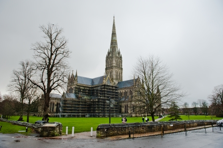 constable: Salisbury Cathedral Front view and park on sunny day, South England