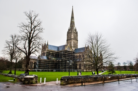 Salisbury Cathedral Front view and park on sunny day, South England photo
