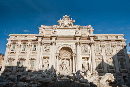 caput: Trevi Fountain, the largest Baroque fountain in the city and one of the most famous fountains in the world located in Rome, Italy.  Stock Photo