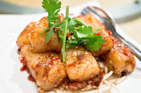 hoisin: Chinese Dim Sum radish cakes coated with Hoisin and fresh