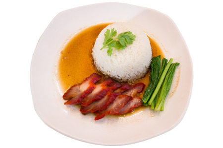 red pork with rice barbuced red pork in sauce with rice  photo