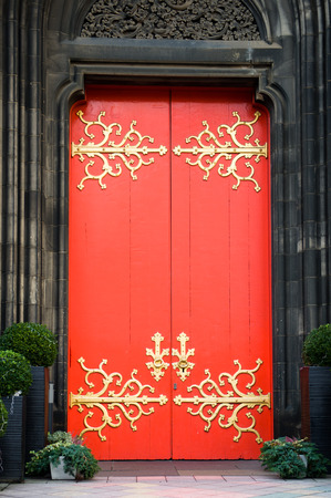 Brightly coloured traditional English house door photo