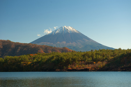 saiko: Fuji Mountain towers over Lake Saiko in Japan
