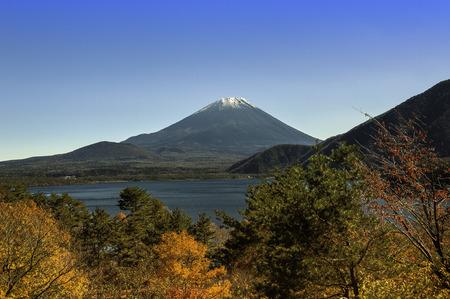 Mountain Fuji in winter season from Motosu lake photo