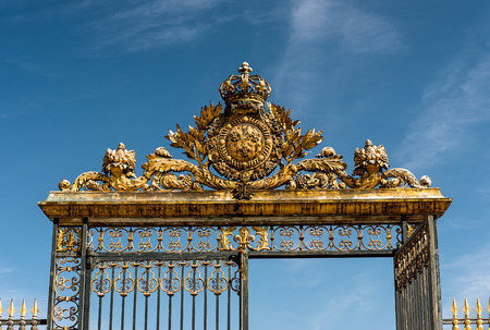 fense: Golden Gates in Versailles. France Stock Photo