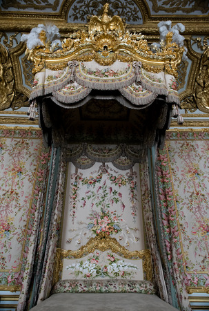 versailles: Versailles, France - April 18: Interior of royal bedrooml at Chateau de Versailles Palace of Versailles on April 18, 2015, France. Versailles palace is in UNESCO Editorial