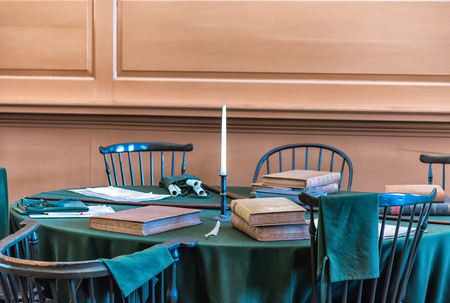 one on one meeting: 13 April 2016 - Restored Assembly Room displaying 18th century papers in Independence Hall, Philadelphia, Pennsylvania, one of the meeting places of the Second Continental Congress. Editorial