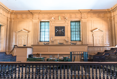 american revolution: 13 April 2016 - Restored Assembly Room displaying 18th century papers in Independence Hall, Philadelphia, Pennsylvania, one of the meeting places of the Second Continental Congress. Editorial