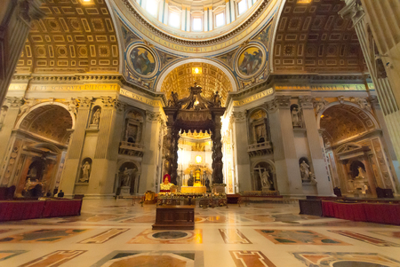 ROME : Indoor St. Peters Basilica on December 25, 2012 in Rome, Italy. St. Peters Basilica until recently was considered largest Christian church in world